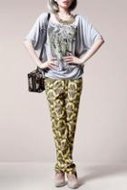 Oasap Butterfly Print Zipped Harem Pants