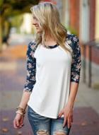 Oasap Casual Floral Long Sleeve Pullover Tee