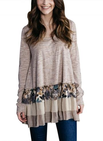 Oasap Casual Long Sleeve Floral Ruffle Tee