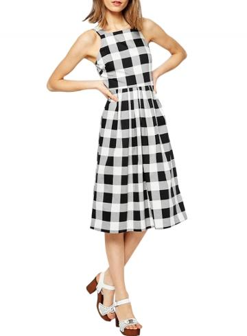 Oasap Women's Gingham Print Sleeveless A-line Midi Dress