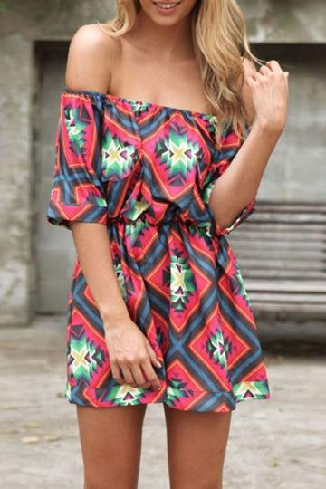 Oasap Off-the-shoulder Geo Pattern Rompers