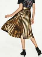 Oasap Fashion Metallic Sparkle Pleated Midi Skirt