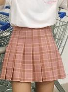 Oasap Fashion Plaid Pattern Pleated Mini Skirt