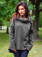 Oasap Turtleneck Long Sleeve Solid Color Pullover Fleece Hoodie