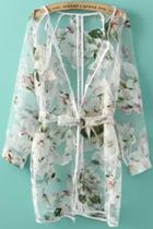 Oasap Sheer Floral White Long Blouse