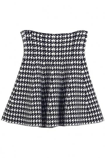 Oasap Houndstooth Pattern Skirt