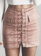 Oasap Chic Faux Suede Lace-up Bodycon Skirt