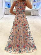 Oasap Fashion Sleeveless Floral Embroidery Maxi Dress
