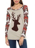 Oasap Round Neck Long Sleeve Christmas Floral Printed Tee Shirt