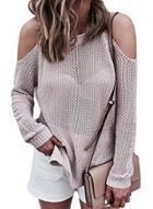 Oasap Off Shoulder Long Sleeve Solid Color Loose Fit Sweater