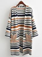 Oasap Striped Long Sleeve Open Front Cardigan