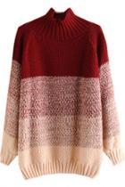 Oasap Gradient Ramp Mock Neck Knit Sweater