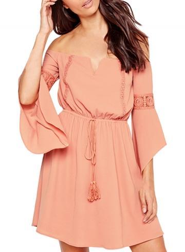 Oasap Women's Lace Paneled Slash Neck Flare Sleeve Dress