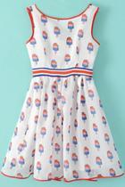 Oasap Glamorous Printed Sleeveless Skater Dress