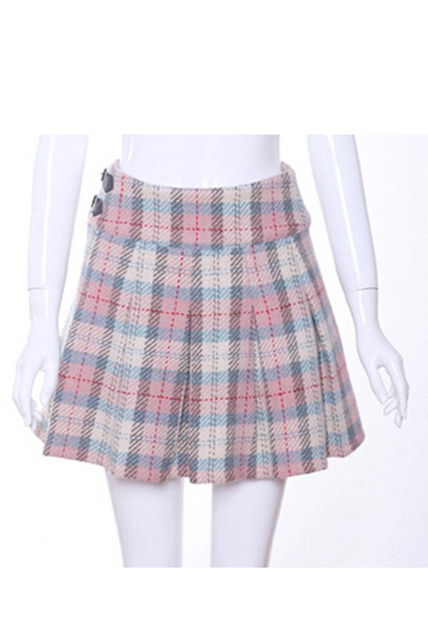 Oasap Plaid Pleated Woolen Skirt