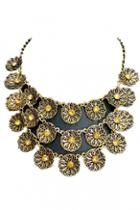 Oasap Exquisite Gold Flowers Detail Necklace
