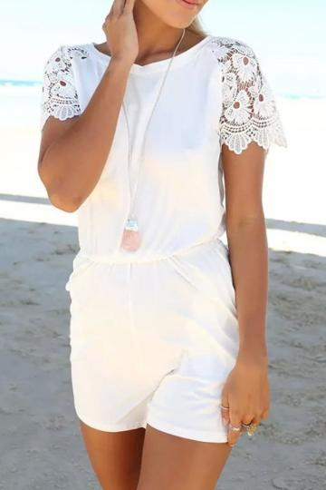 Oasap Fashion White Lace Sleeves Rompers
