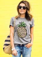 Oasap Short Sleeve Pineapple Printed Pullover Tee