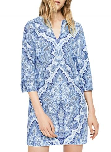 Oasap Women's Blue White Porcelain Print V Neck Shift Dress