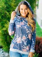 Oasap Long Sleeve Floral Printed Pullover Hoodies