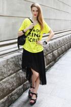 Oasap Pleated Chiffon Skirt With Slanting Hemline