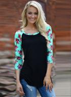 Oasap Fashion Floral Long Sleeve Pullover Tee