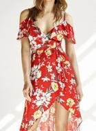Oasap Floral Print Chiffon Slip Dress