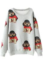Oasap Adorable Doggie Pattern Sweatshirt