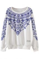 Oasap Casual Printed Long Sleeve Pullover Sweatshirt