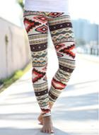 Oasap Fashion Argyle Printed Skinny Sports Leggings