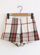 Oasap High Waist Plaid Printed Shorts