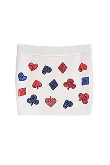 Oasap Contrast Color Poker Sequins Embellished Skirt