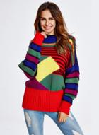 Oasap Fashion Long Sleeve Loose Fit Color Block Pullover Sweater