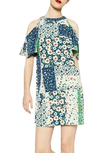 Oasap Women Fashion Off Shoulder Short Sleeve Floral Print Dress