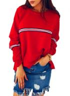 Oasap Fashion Striped Long Sleeve Loose Pullover Tee