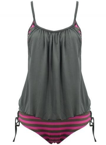 Oasap Women's Summer Color Block Striped Two Piece Swimsuit