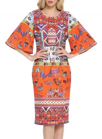 Oasap Women's Casual Half Flare Sleeve National Wind Print Dress