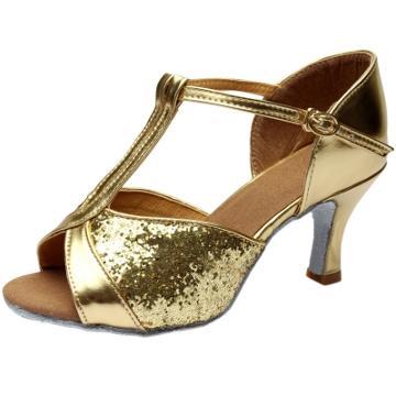 Oasap Peep Toe High Heels Sequins Latin Dance Shoes.