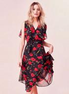 Oasap Floral Print Chiffon Sleeveless Dress