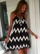 Oasap Backless Wave Printed Tassel Hems Mini Dress