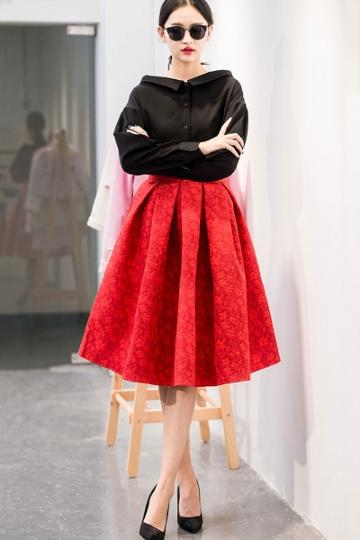 Oasap Fashion Structured Pleated Skirt