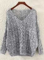 Oasap V Neck Batwing Sleeve Hollow Out Loose Sweater