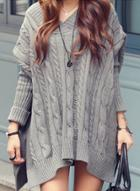Oasap V Neck Batwing Sleeve Cable Knit Loose Sweater