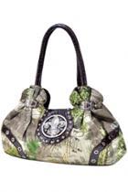 Oasap Studded Camouflage Satchel Bag With Rhinestone
