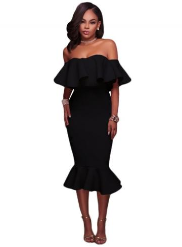 Oasap Ruffle Off Shoulder Mermaid Midi Party Dress
