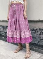Oasap Bohemian Drawstring Waist Printed Maxi Skirt