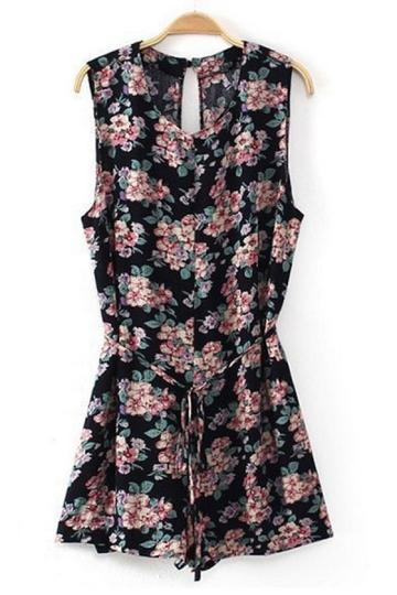 Oasap Vintage Floral Sleeveless Rompers
