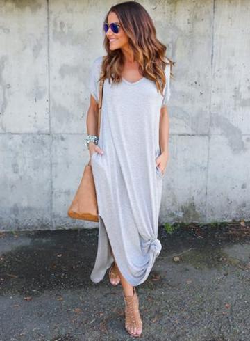 Oasap V Neck Short Sleeve Loose Fit Side Slit Maxi Dress