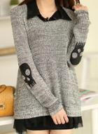 Oasap 2 Piece Loose Fit Skull Long Sleeve Pullover Sweater