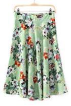 Oasap Green Floral Skirt